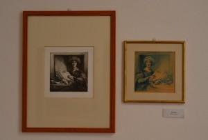A destra) Massimo Rao, Senza titolo, Matita colorata su carta, 29x29 cm; (a sinistra) Massimo Rao, Senza titolo, 1987, Incisione, 45/100, 57x34 cm, Pinacoteca Massimo Rao, San Salvatore Telesino (BN)