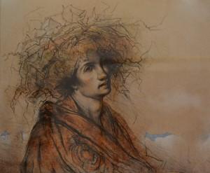 Massimo Rao, Il re delle lucertole (particolare), 1994, Litografia 12 colori, 62x83 cm, Pinacoteca Massimo Rao, San Salvatore Telesino (BN)